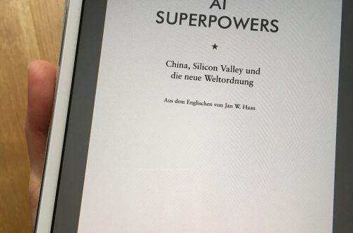 iPad mit geöffnetem eBook: AI Superpowers